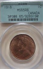 1918  Canada Large Cent Coin. RED UNC. PCGS MS-65