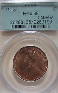 1918  Canada Large Cent Coin. RED UNC. PCGS MS-65 RJ