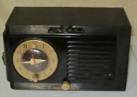 Antique General Electric Bakelite AM Tube Clock Radio Model 512F Collectible