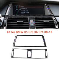 Carbon Fiber Trim Interior GPS Panel Air condition For BMW e70 e71 X5 X6 M Strip