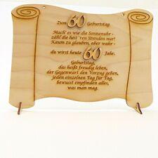 Geburtstagsgeschenk Glückwünsche auf einer Holztafel graviert zum 60. Geburtstag