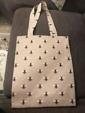 Handmade Bee Print Shopper Or Sholudet Bag In Linen Look Quality Cotton