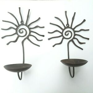 2 Vintage Sun Wrought Iron Wall Hanging Taper Candle Holder Sconce Metal 11 1/2""