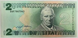 Lithuania 2 Litai Banknote UNC Never Been In Circulation Lithuanian Two Litas