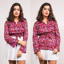 Vintage años 70 Corbata Frente Blusa Prenda para el torso Patrón Floral Rosa Abierto Collar de poliéster 10