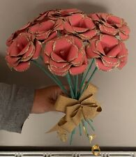 8 PEICE PAPER FLOWER BOUQUET WITH GOLD FINISH. HANDMADE TO ORDER.