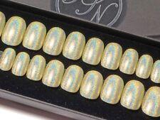 Press On Nails Short Green Holographic Hand Painted Petite Fake False Nails 24
