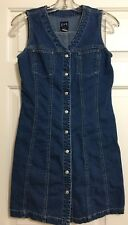 Gap size 1 sleeveless denim blue jean dress snap front women's