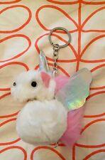 Unicorn Fluffy Pom Pom Girl's Keyring. New No Tag.