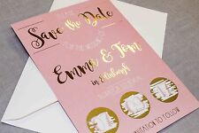 Blush pink and gold foil Wedding Save the Date scratch cards