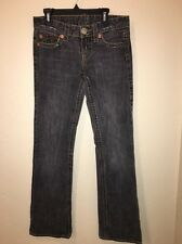 True Religion Women's Bobby Big T Faded Black Boot Cut Jeans Size 26