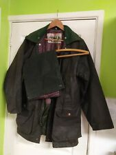 Classic Green Waxed Jacket (Barbour style) Size S has been well worn and rewaxed