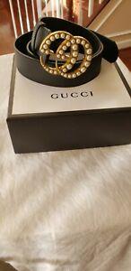Gucci Double GG pearls  black leather belt unisex 120-125cm length width 7.5cm
