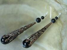 Orientalische Ohrhänger Ohrringe Flötenkappe mit Onyx & 925 Silber Ohrhaken