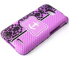 For LG Optimus L70 MS323 D325 - HARD FITTED SKIN CASE COVER PURPLE FLOWER ANCHOR