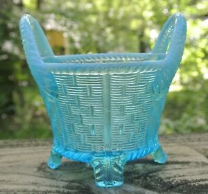 Singed  Northwood  Blue Opalescent Four Footed Bushel Basket With Ribbed Handles