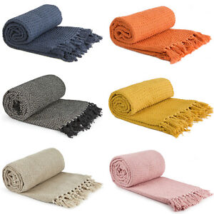Luxury Chair Bed Sofa Throw Tassel 100% Cotton Soft Warm Fringe Blanket Throws