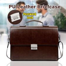 Men Business Leather Briefcase Travel Handbag Laptop Shoulder Bag Password Lock