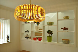 Bamboo Pendant Ceiling Handmade Lampshade, Oval Shape, Natural Brown, L016
