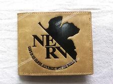 Thin type khaki PU short wallet of Anime Neon Genesis Evangelion maple&NERV mark