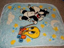 30x45 Vintage LOONEY TUNES Tweety Sylvester Acrylic Baby Crib Blanket Comforter
