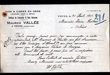 "VOVES (28) FABRIQUE de LIMONADES / CIDRES VINS en gros ""Maurice VALLEE"" en 1933"