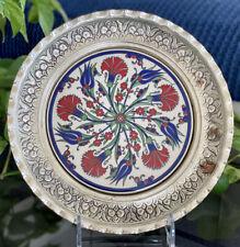 Turkish Handmade Iznik Tulip & Carnation Vintage Ceramic Round Tile Silver Frame