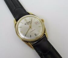 Vintage LeJour 17 Jewel Date Feature Manual Wind Watch Gold Tone Leather Band