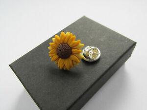 Handmade Yellow Sunflower Flower Brooch Lapel Pin ~ Mum Auntie Nanny Gift 12833B