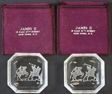 Classic Octagonal James II Baccarat Crystal Polo Player Ashtrays
