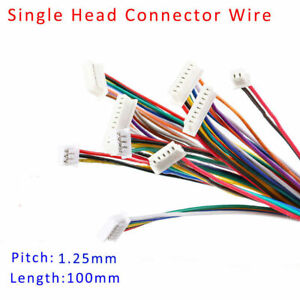 Pitch 1.25mm SH1.25 2/3/4/5/6/7/8/9/10P Single Head Connector Wire 100mm Cable