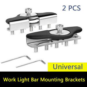 2X Car Hood Mounting Brackets Led Work light Bars Clamp Holder No Need Drilling