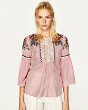 Zara Pink Striped Blouse Top With Embroidery SIZE XS EXTRA SMALL BRAND NEW BOHO