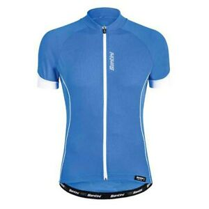 Santini Mens Ora Short Sleeve Cycling Jersey in Blue - Made in Italy