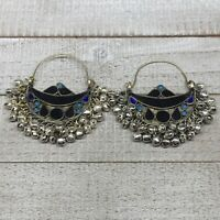 "2.8""x2.5"", Turkmen Earrings Tribal Statement Boho Bib Hoop Fashion Bells, KE220"