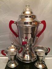 Art Deco UNITED Coffee Maker Set Creamer & Sugar Bowl w Red Bakelite Handles
