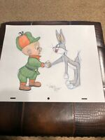 """Virgil Ross Sketch - Bugs Bunny And Elmer Fudd Shaking Hands. Signed 12.5x10.5"""""""