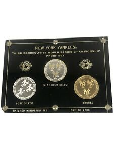 NEW YORK YANKEES THIRD CONSECUTIVE CHAMPIONSHIP PROOF SET (3 COINS) 2 OZ .999 FS