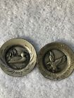 Two Minature Torino Pewter Wall Plates Eagle & Duck Vintage Wall Decor
