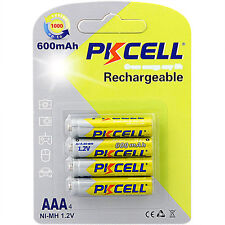 4 AAA 3A Triple A nimh Rechargeable Batteries 600mAh 1.2V Volt 500+ Cycles