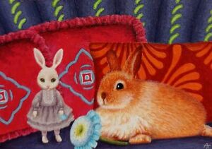 ACEO Art Card * Original Oil Painting ' Rabbit, Sofa, Flower