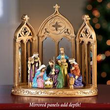 Mirrored Christmas Nativity Scene Shelf/Tabletop Centerpiece Decoration