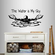 Vinyl Decal Water is My Sky Quote Swimming Girl Woman Swimmer Wall Sticker 94
