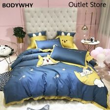 Cartoon Embroidery 60S Egyptian Cotton Bedding Set  Duvet Cover Bed Sheet Bed