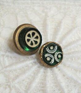 """2 Antique Green Glass Waistcoat Buttons 3/8"""" & 1/2"""""""