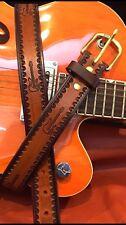 Two Tone Belt Hand Tooled Electric Guitar Dad Birthday Holidays Custom USA