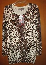"""NWT Almost FAMOUS L Cheetah Sweater Undrarms20"""" Slv26"""" Lng30"""" Great GIFT Item!"""