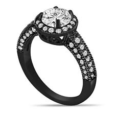 14K BLACK GOLD DIAMOND ENGAGEMENT RING 1.53 CARAT VINTAGE STYLE HALO PAVE