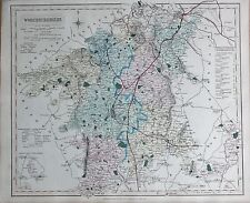 1845  LARGE ANTIQUE COUNTY MAP - RAILWAYS, WORCESTERSHIRE PERSHORE DROITWICH BRO