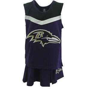Baltimore Ravens NFL Youth Kids Girls 2 Piece Cheerleader Outfit with Skirt Set